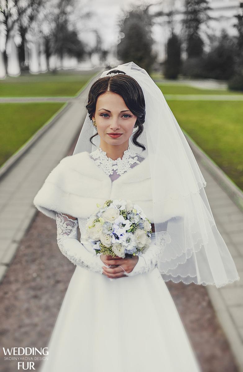 Норковые накидки для невесты
