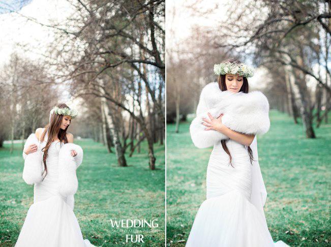 Свадебный меховой палантин из песца: меховые накидки на осень