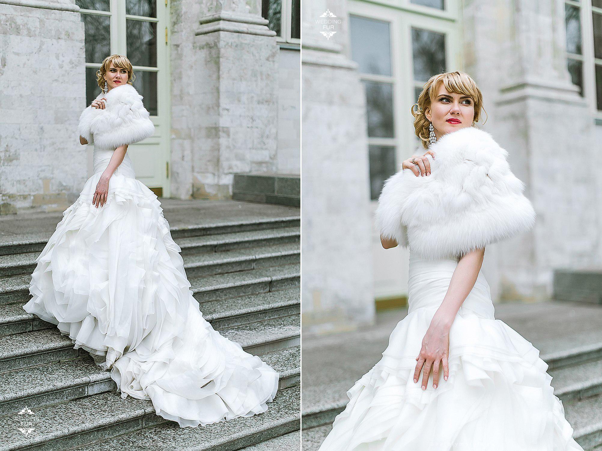 Свадебное платье Vera Wang накидка из песца Wedding fur
