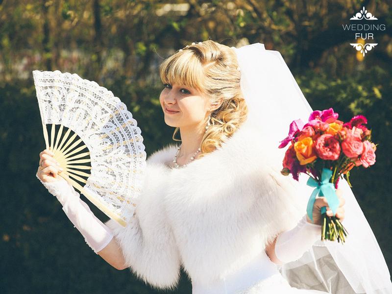 Летние свадебные меховые накидки
