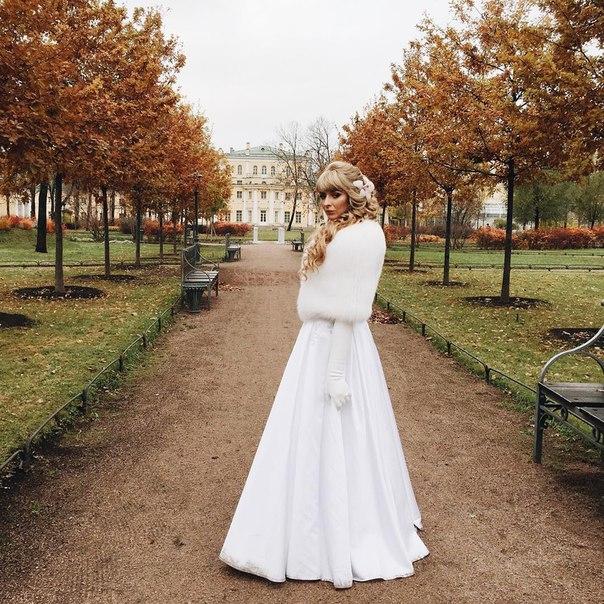 Меховая накидка для невесты напрокат