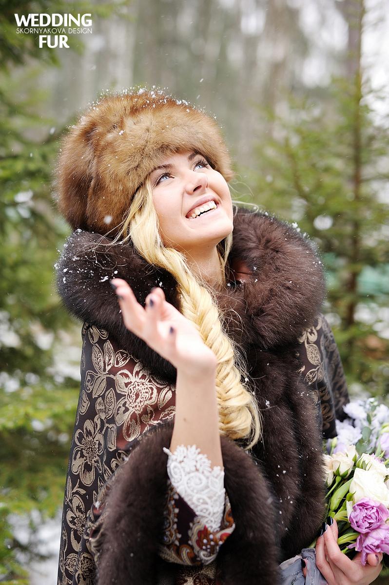 Свадьба в русском народном стиле: меховой платок с мехом песца