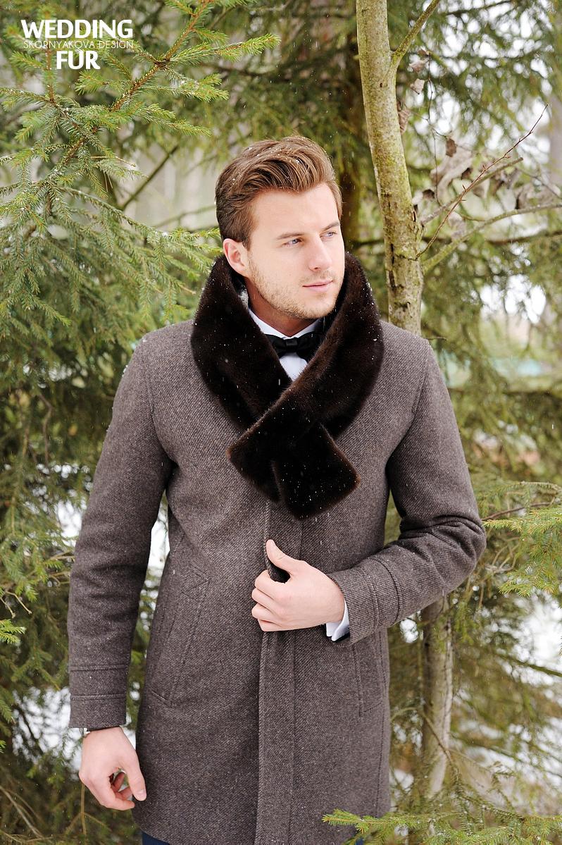 Свадьба в русском народном стиле: меховой шарф из норки