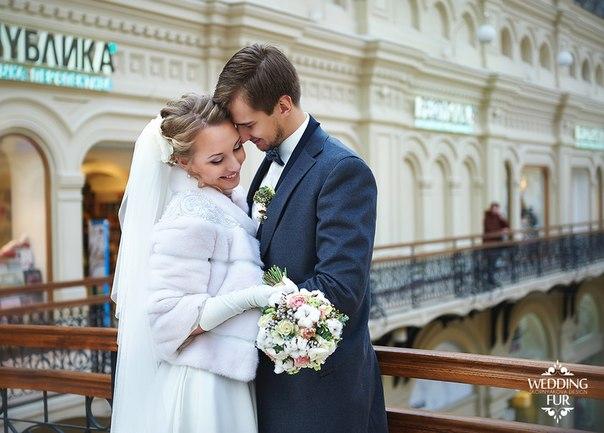 Свадьба зимой невеста в шубке из норки