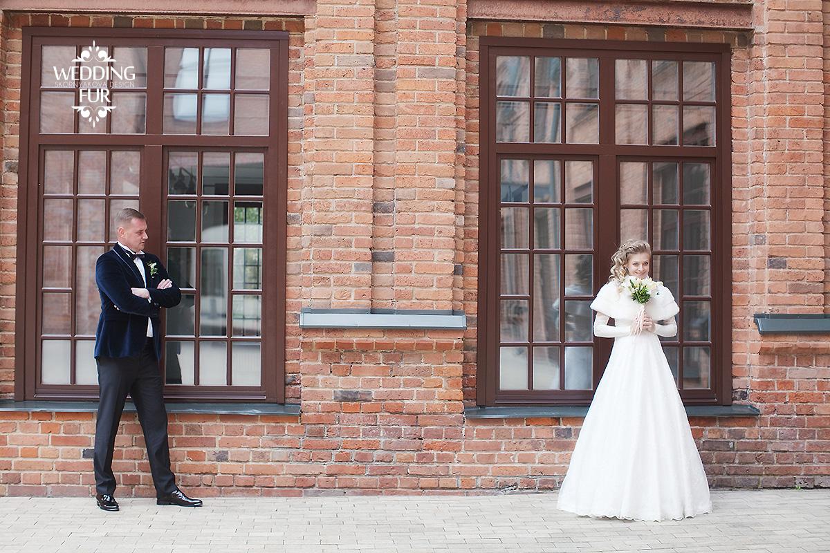 Свадебное фото зимняя свадьбы накидка из норки для невесты