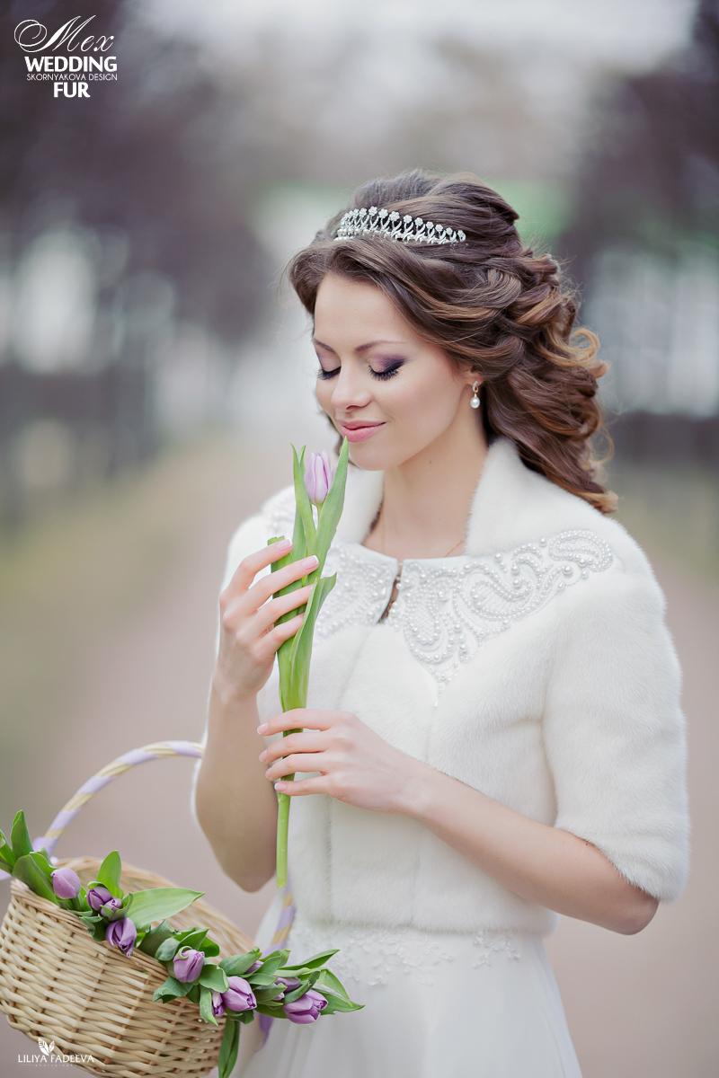 Свадебная шубка из натурального меха напрокат