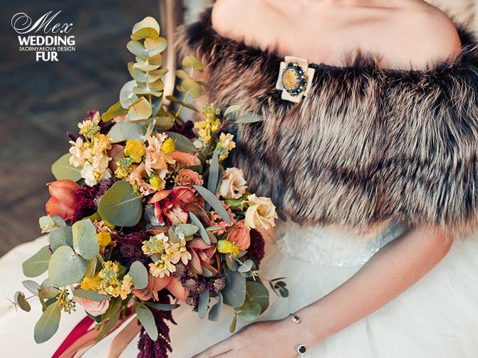 Свадебная накидка и букет в стиле бохо для невесты