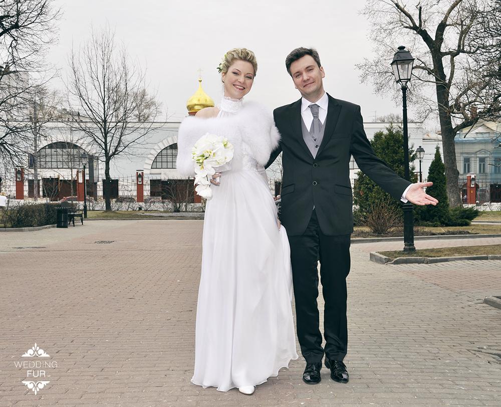 Меховая пелерина горжетка накидка на свадебное платье купить