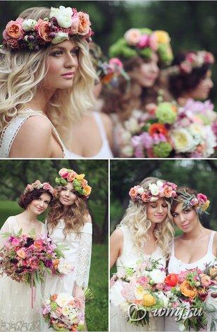 Прическа в стиле бохо шик образ невесты