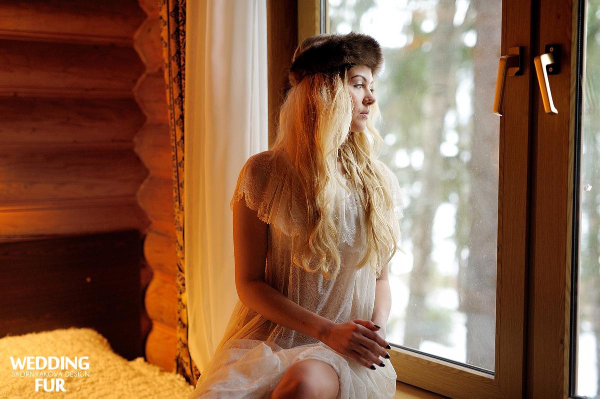 Свадьба в русском стиле: повязка на голову из соболя