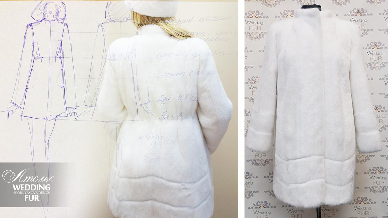 Меховое ателье белая норковая шуба на заказ Москва