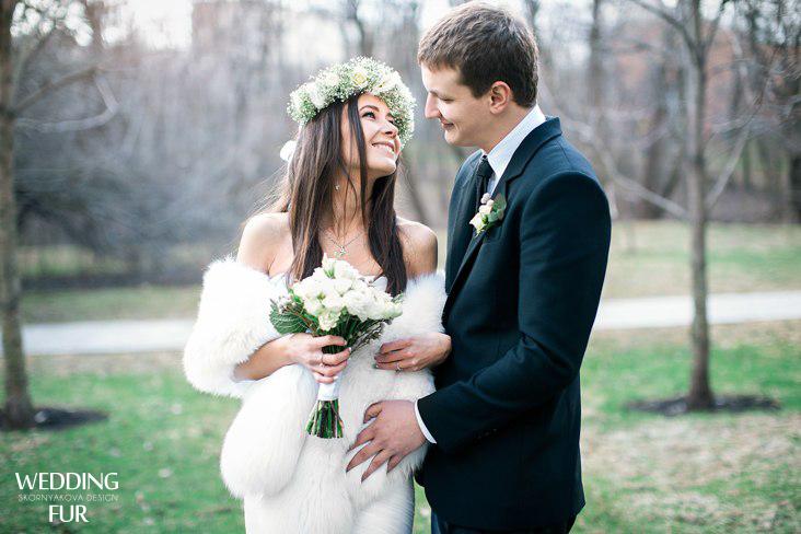 Свадебные меховой палантин напрокат